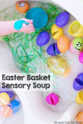 Easter sensory soup for toddlers and preschoolers