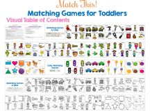 All of the matching games for toddlers you could ever want: matching numbers, words, shapes, colors with fun themes like firefighters, cowboys and cowgirls, construction vehicles, tools, ocean creatures, cars, bees, community helpers, and more! This Match This! Toddler Matching Games Ebook contains 30 different matching games that you can mix and match and extend at any time.