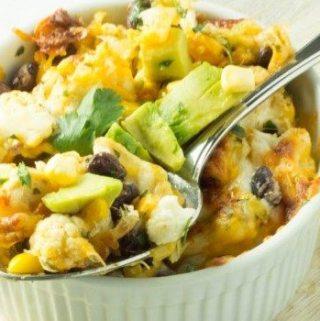 Cheesy Tex Mex  Cauliflower with Chicken and  Fresh Avocado