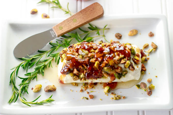 goat cheese withhoney fig pistacios
