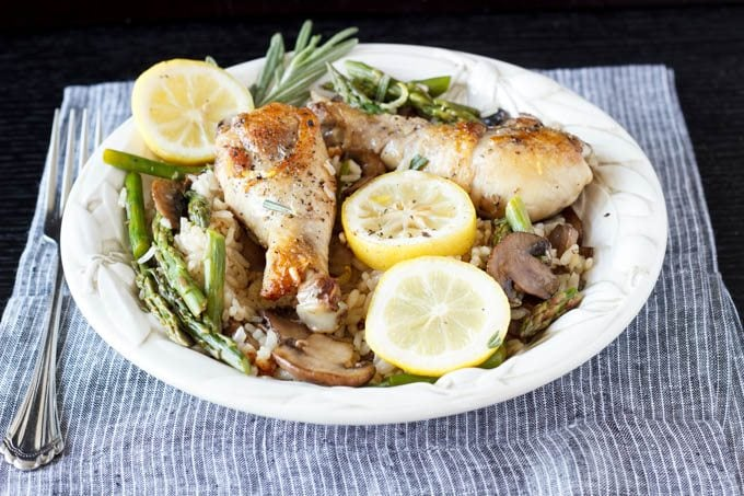 one pot tuscan lemon chicken with asparagus