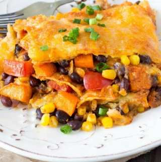 Crockpot Black Bean Sweet Potato Enchiladas