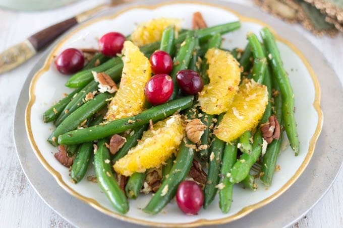 green beans with citrus, peans and maple vinaigrette - simplehealthykitchen.com
