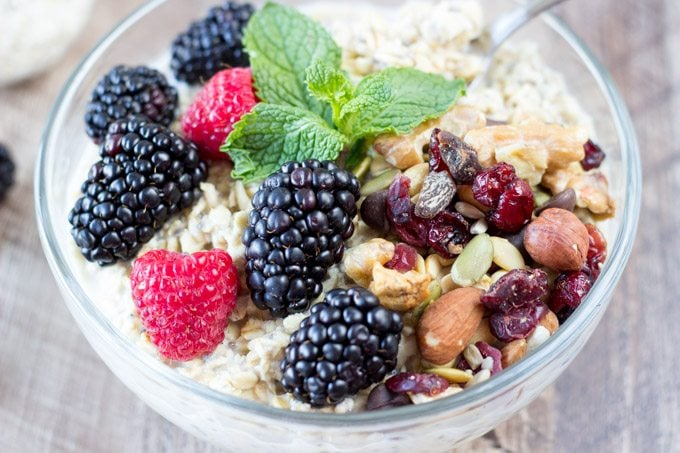 Healthy Power Breakfast Bowl with Oats, Fruits and Nuts