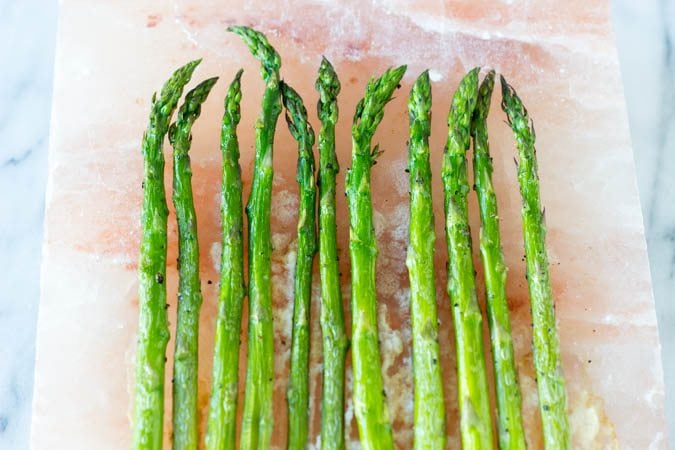 Himalayan Salt Block Asparagus - simplehealthykitchen.com FG
