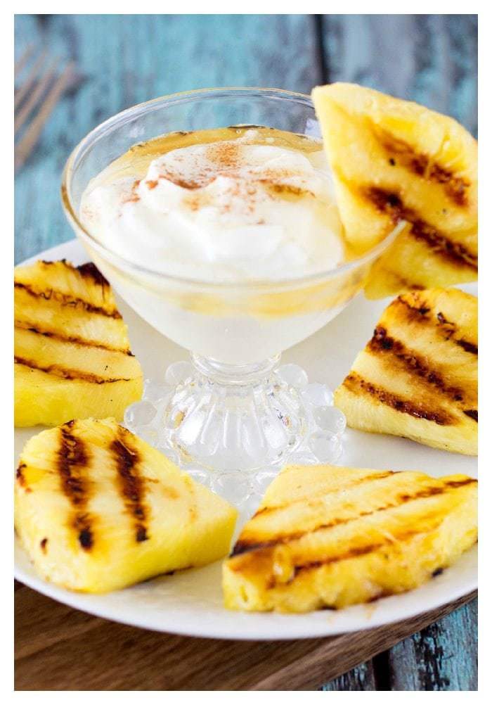 grilled pineapple with honey cinnamon yogurt