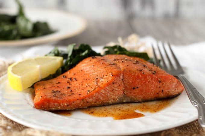 baked salmon with smoked paprika and honey- Simplehealthykitchen.com
