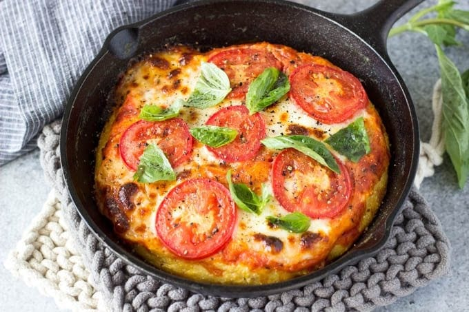 skillet margarita polenta pizza featured -SimpleHealthyKitchen.com