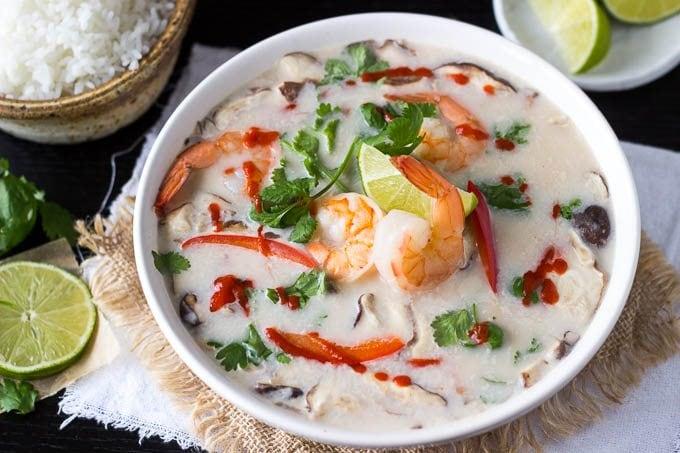 Healthy Tom Kha Soup   Thai Coconut Soup with Shrimp