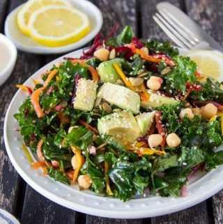 Kale + Chickpea Salad {with Lemon Tahini Dressing}