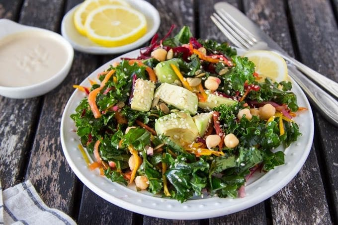 chickpea-kale-salad-lemon-tahini-dressing featured