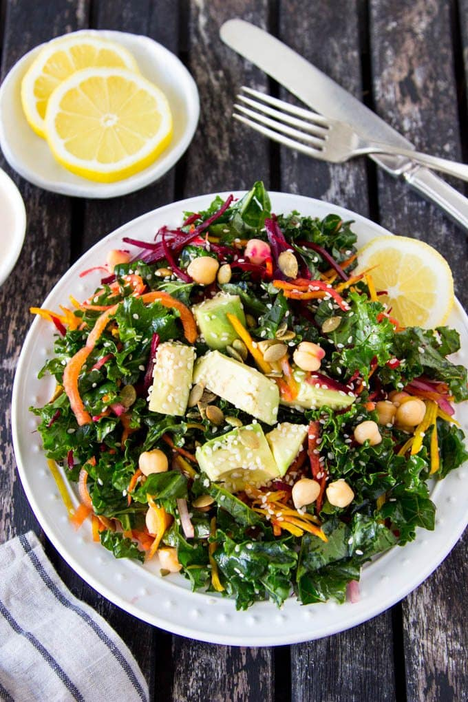 chickpea-kale-salad-lemon-tahini-dressing pinterest