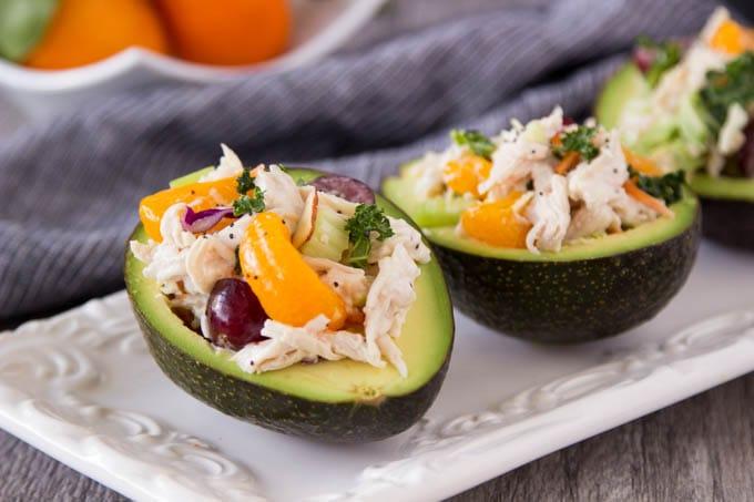 Mandarin Orange Chicken Salad Stuffed Avocado