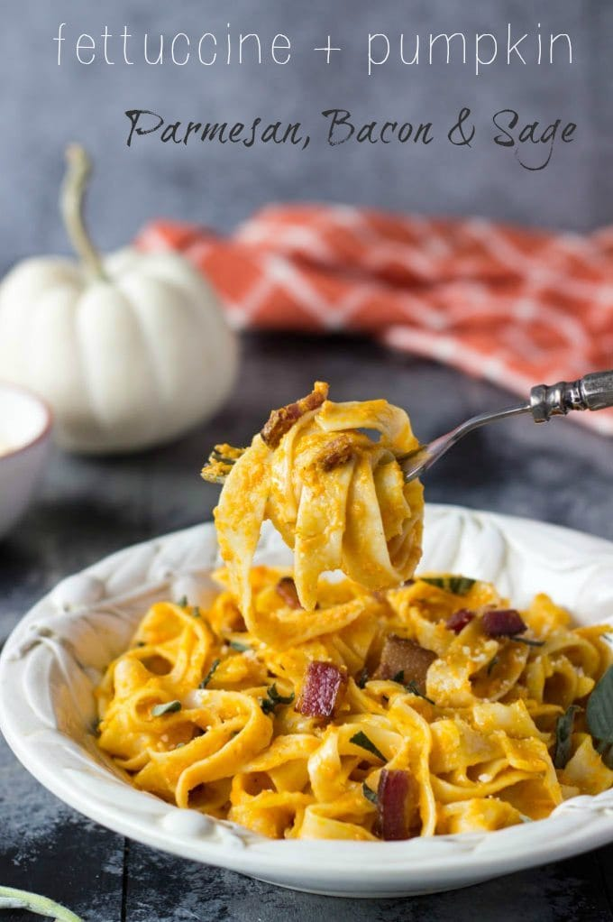 So easy! Only a few simple ingredients needed to make this healthy Fall inspired meal. Creamy pumpkin sauce tossed with fettuccine, Parmesan, bacon & sage. #Pasta #healthy #pumpkin