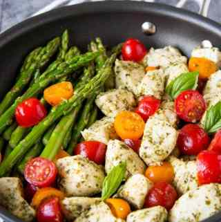 5 Ingredient Skillet Pesto Chicken + Asparagus