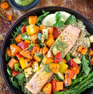 Roasted Salmon + Veggie Bowl