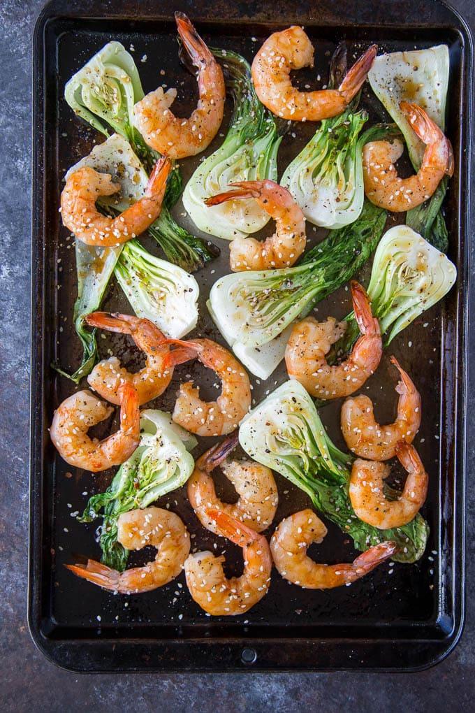 Sheetpan Terriyaki Shrimp + Sesame Bok Choy 1