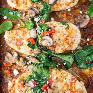 Spinach + Mushroom smothered Hasselback Chicken