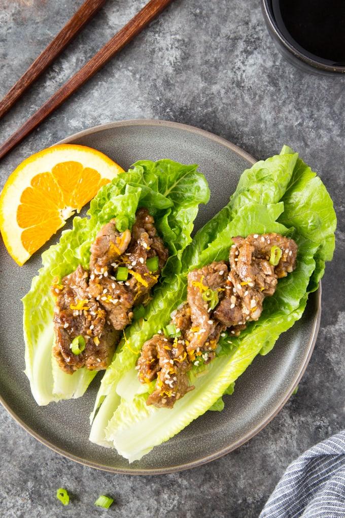 skillet sesame orange beef lettuce cups