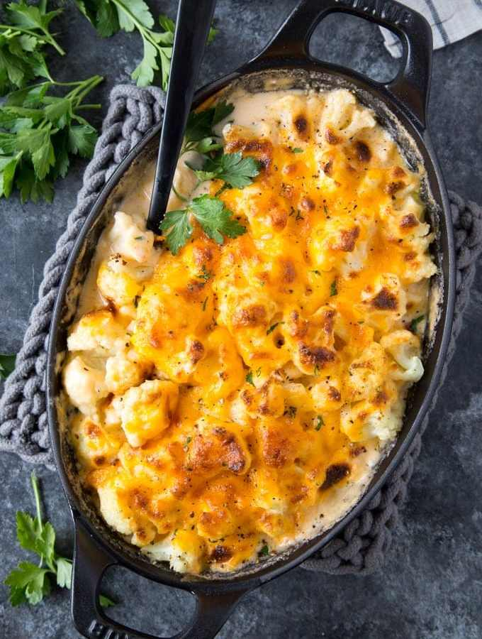 "Cauliflower ""Mac"" & Cheese {Keto, Low Carb}"