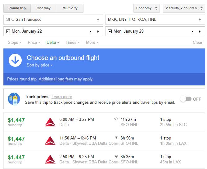 San Francisco to Hawaii Flight Results