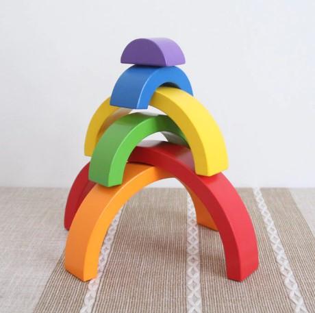 Arc-en-ciel en bois empilable 6 couleurs