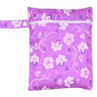 Moyen Wet Bag Fleurs mauves