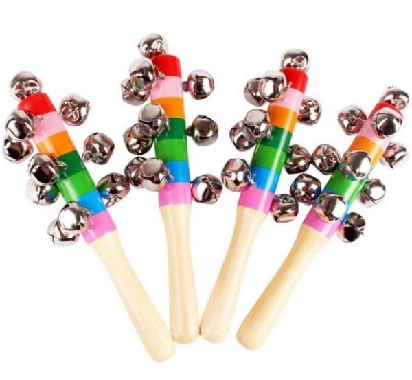 Hochet musical multicolore en bois