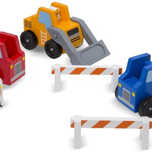 3 camions de constructions et personnages