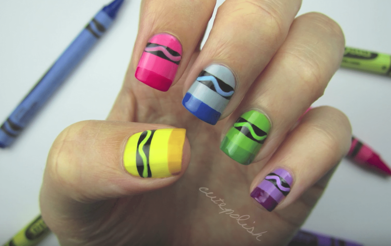 Crayon Nail Art And Other Back To School Nail Designs