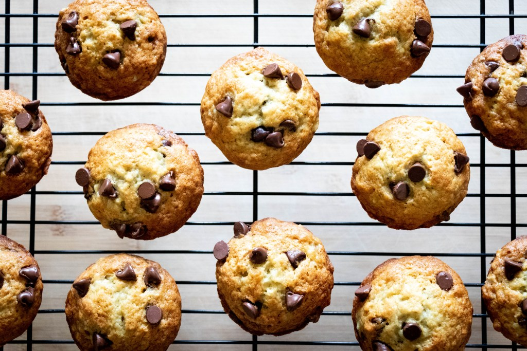 banana chocolate chip muffins cooling rack