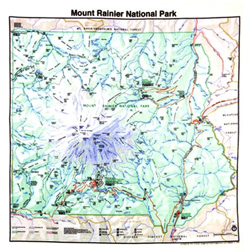 Mt Rainier Topographic Map.Topo Park Map Mt Rainier National