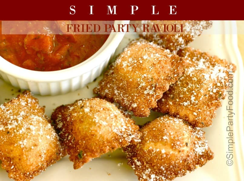 SIMPLE Fried Party Ravioli - store bought cheese ravioli are breaded and fried to serve as finger foods dipped in marinara sauce #appetizers #ravioli #simplepartyfood