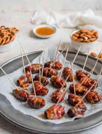 SIMPLE Maple Glazed Bacon Wrapped Dates with Almonds