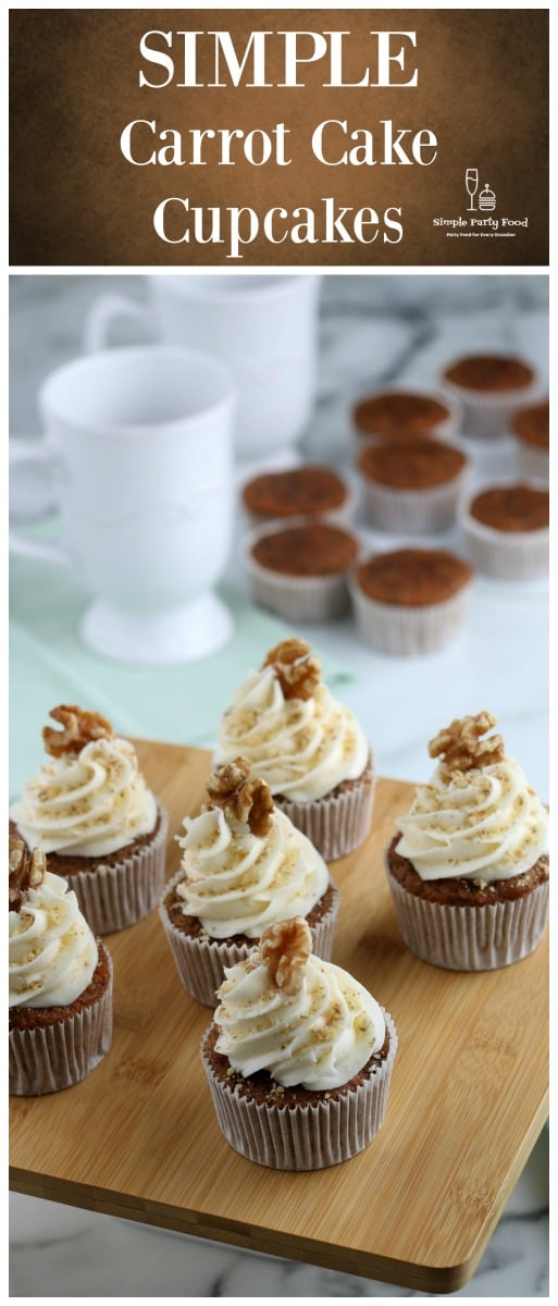 SIMPLE Carrot Cake Cupcakes - why make a whole carrot cake when you can make a muffin #carrotcake #dessertrecipes #easterdessert #easterrecipes #simplepartyfood