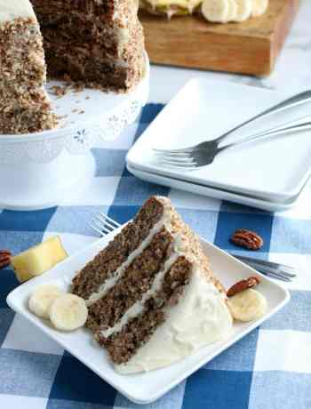 SIMPLE Hummingbird Cake - 3 tiered layered spice cake with pineapples, bananas and pecans with a cream cheese frosting #hummingbirdcake #simplepartyfood