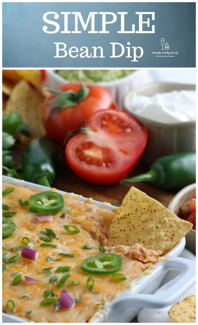 SIMPLE Bean Dip that is hot and bubbly, full of refried beans, taco seasonings, creamy, warm and comforting #beandip #refriedbeandip #easydiprecipes #simplepartyfood