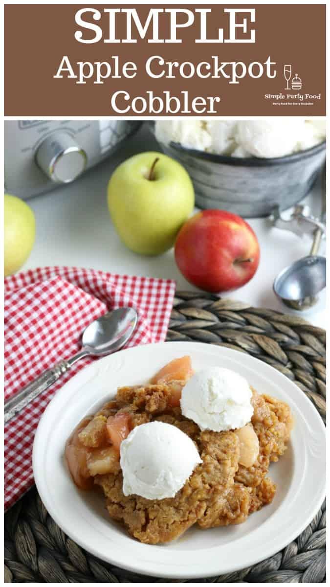 SIMPLE Apple Cobbler Dump Cake - a few simple ingredients yields a delicious apple cobbler dessert