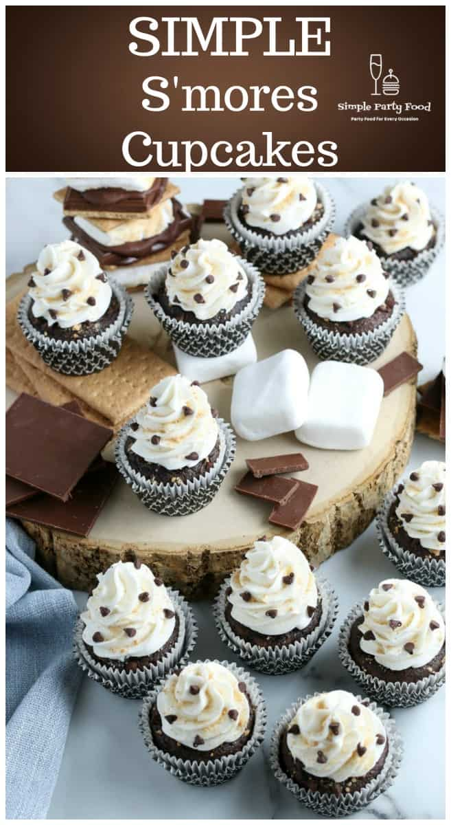 How to make a S'mores cupcake with graham cracker crust, marshmallows and chocolate #smores #cupcakes #simplepartyfood
