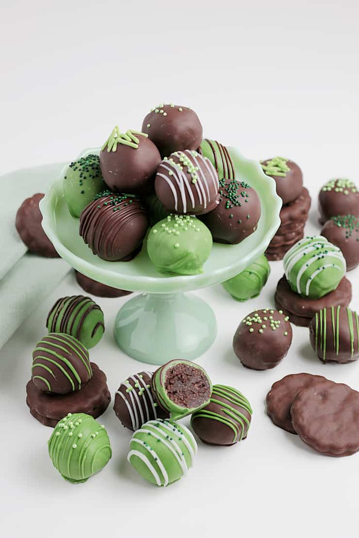 Mint Cookie Truffles dipped in green food coloring for St. patricks day