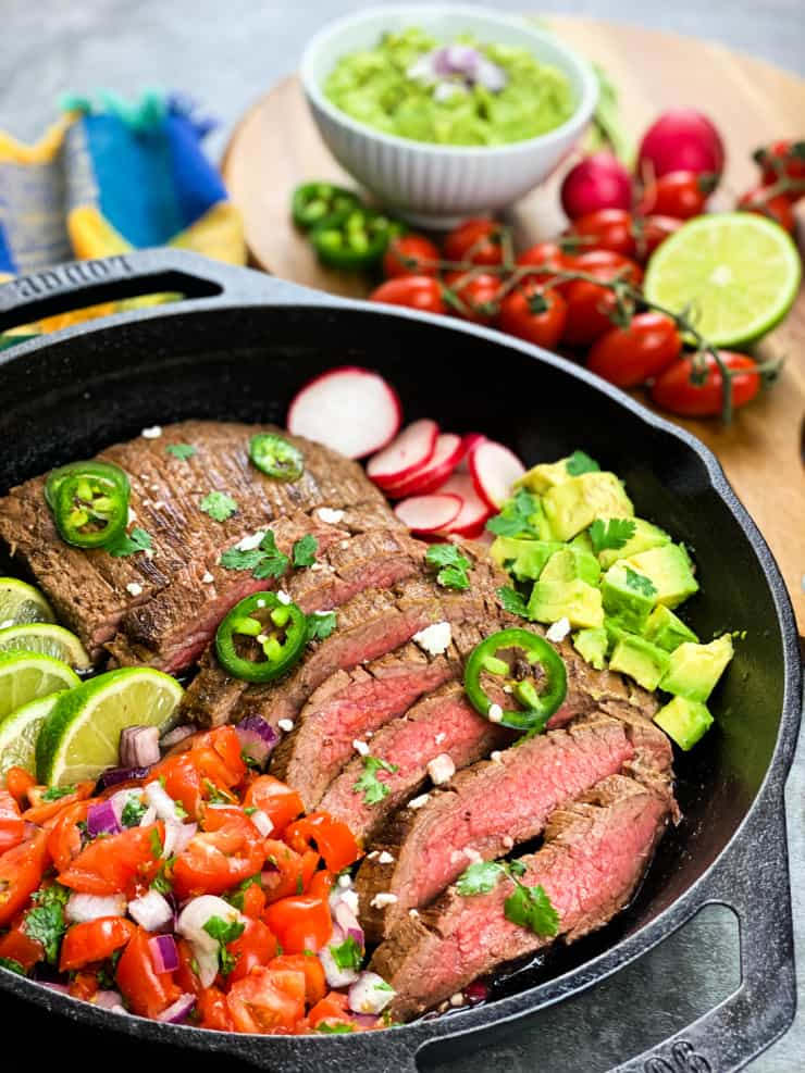 SIMPLE One Skillet Carne Asada - Mexican flank steak