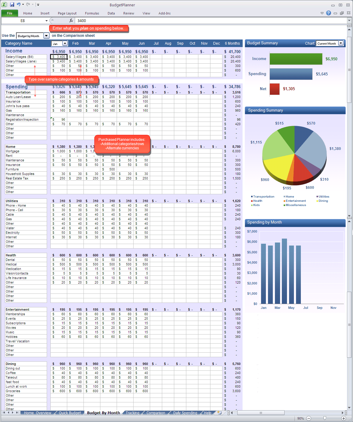 Excel Monthly Budget Template Free