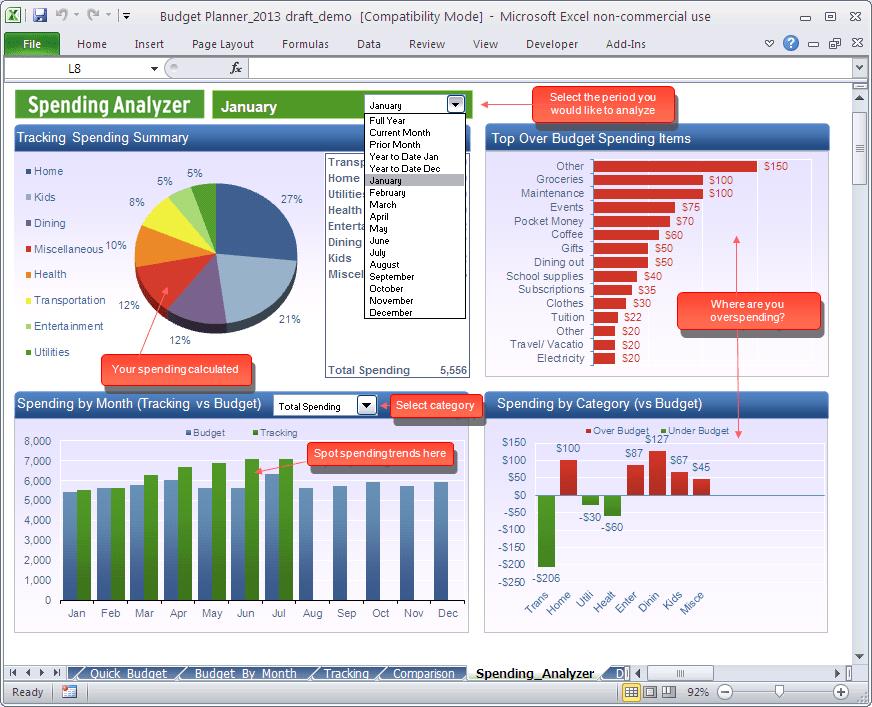 Budget Planner - Spending Analyzer spreadsheet