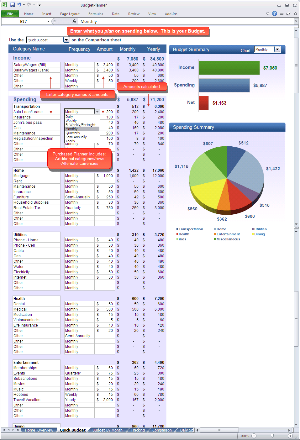 Budget Planner - Quick Budget Excel spreadsheet