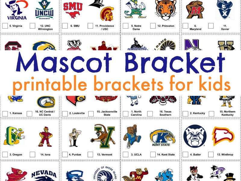 Kids can get excited about March Madness with this printable mascot bracket!