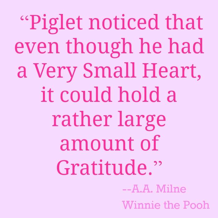 Piglet gratitude quote