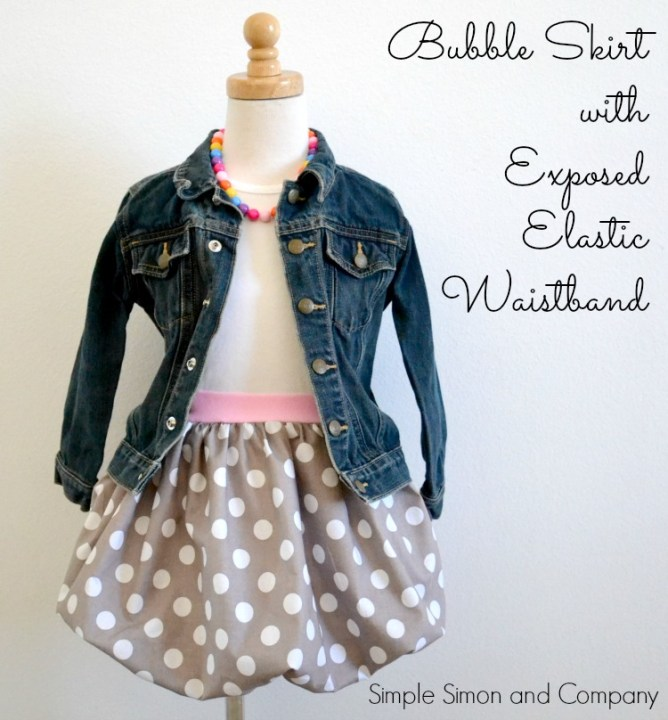 Bubble Skirt with exposed elastic waistband