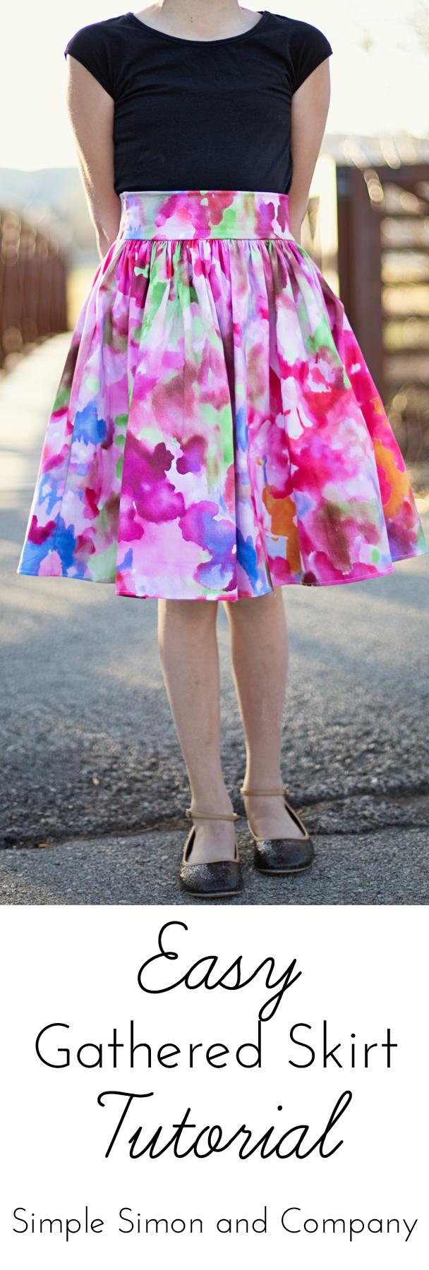 Easy Gathered Skirt Tutorial