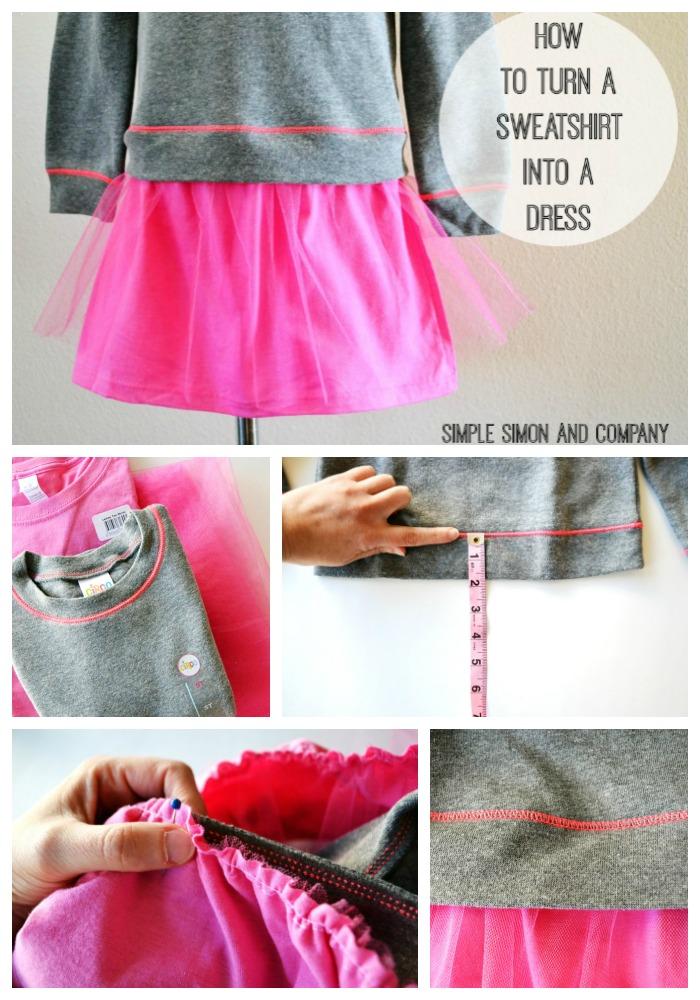 Sweatshirt into dress collage