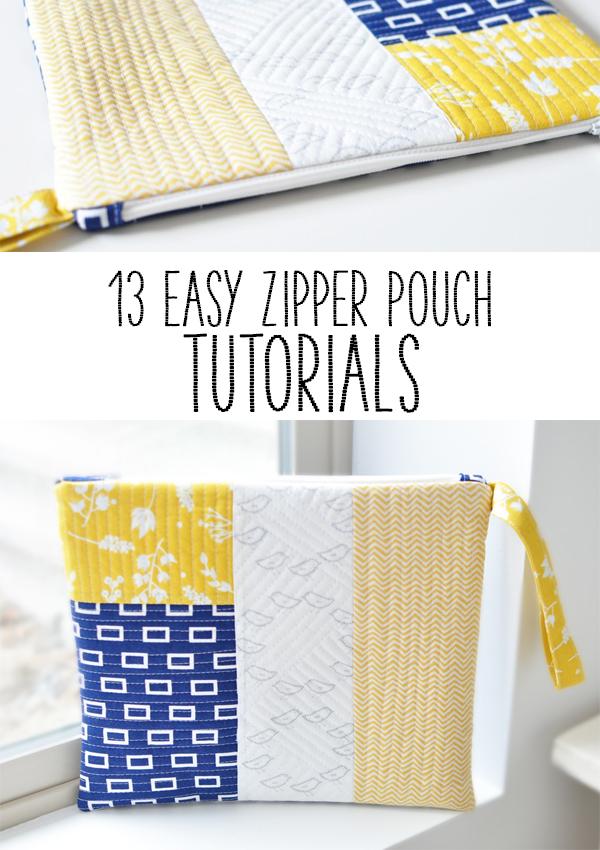 13 Easy Zipper Pouch Tutorials